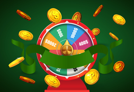 Wheel of fortune, flying golden coins and green ribbon. Casino business advertising design. For posters, banners, leaflets and brochures.