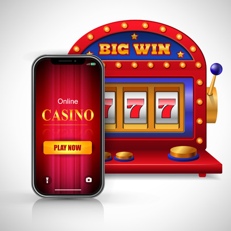 Big win online casino play now lettering on smartphone screen and slot machine. Casino business advertising design. For posters, banners, leaflets and brochures. Illustration