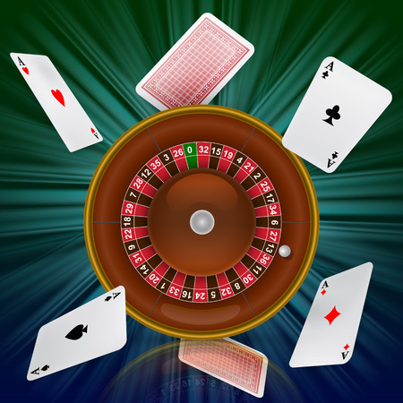 Casino roulette and flying playing cards. Casino business advertising design. For posters, banners, leaflets and brochures. Standard-Bild - 101114255