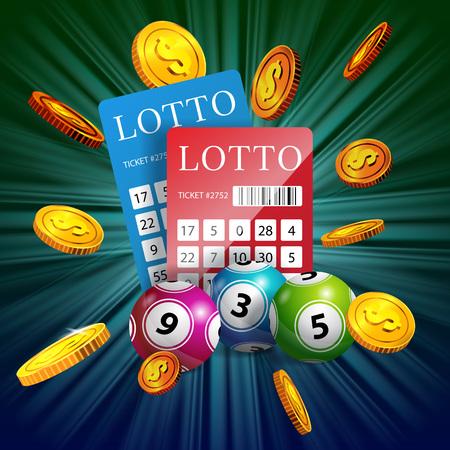 Lottoscheine, Bälle und fliegende goldene Münzen. Glücksspiel Business Werbung Design. Für Plakate, Banner, Faltblätter und Broschüren.