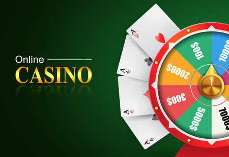 Online casino lettering, wheel of fortune with money prizes bets and four aces. Casino business advertising design. For posters, banners, leaflets and brochures.