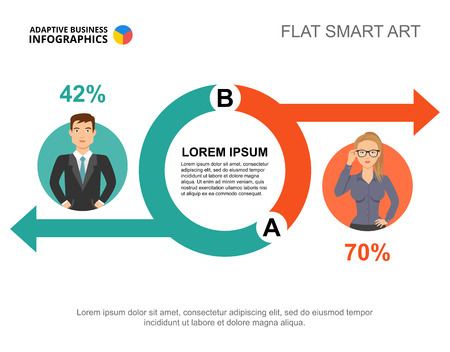 Business info-graphics with circle chart and business people icons. Editable presentation slide template, flat smart art. Data for staff, partnership, leadership. Illustration