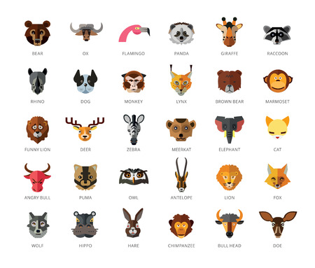 Set of 33 vector icons representing cute wild cartoon animals.