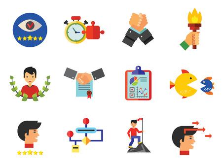 Business Planning Icon Set illustration on white background. Stock Illustratie