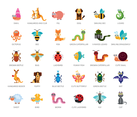 Set of 33 vector icons representing cute domestic and wild cartoon animals.