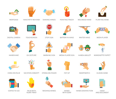 Hands icons set. Thirty three multicolored flat icons Illustration