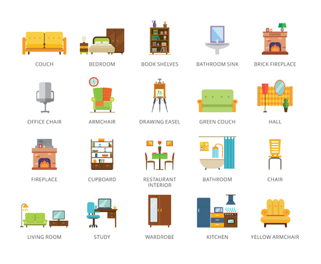 Set of 22 flat vector icons representing furniture and interior concepts