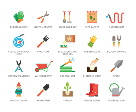 Set of 22 flat vector icons representing gardening and agriculture concepts