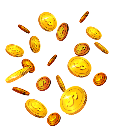 Falling dollar coins. Success, luck, money. Investment concept. Can be used for greeting cards, posters, leaflets and brochure Illustration