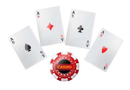 Poker cards in casino. Gambling, playing cards, jackpot.  Entertainment concept. Can be used for greeting cards, posters, leaflets and brochure