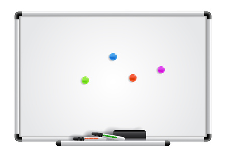 Empty white board, markers and magnets. Design element. Illustration
