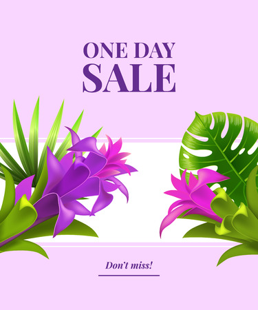 One day sale, do not miss flyer design with violet flowers, leaves and white banner on lilac background. Typed text can be used for labels, poster, signs, banners