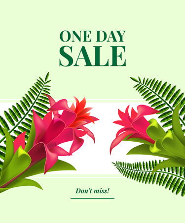 One day sale, do not miss leaflet design with red flowers, leaves and white banner on light green background. Typed text can be used for labels, flyers, signs, banners, posters