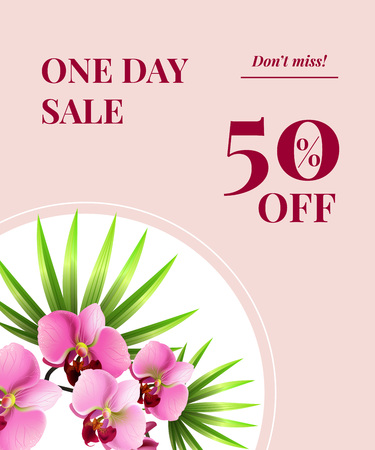 One day sale, fifty percent off, do not miss poster design with pink flowers on white circle. Typed text can be used for labels, flyers, signs, banners