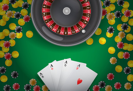 Roulette, four aces, coins and casino chips on green background. Casino business advertising design. For posters, banners, leaflets and brochures. Vectores