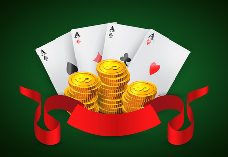 Four aces, golden coins stacks and red ribbon icon Vectores