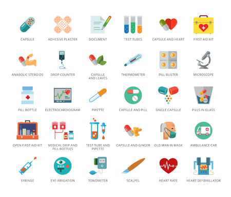 Medicine icons set. Thirty three multicolored flat icons