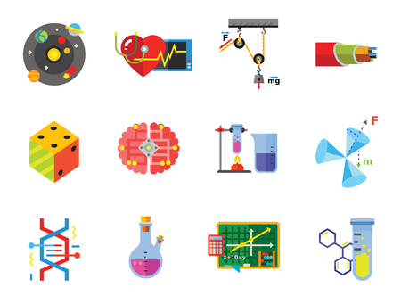 Physics Icon Set. Galaxy Radiation Sign Substance In Test Tubes Flask Genetic Engineering Logic Concept Mathematics Algebra Chemistry Artificial Intelligence Cardiology Optic Cable