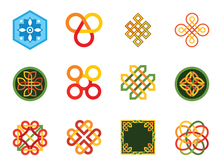 Pattern Icon Set. Hexagon Pattern Infinite Knot Traditional Knot Chinese Amulet Round Pattern Creative Pattern Square Element Eternal Knot Decorative Element Auspicious Symbol Endless Symbol Vettoriali