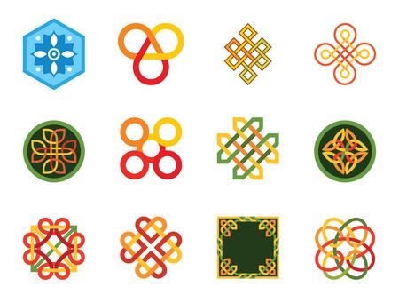 Pattern Icon Set. Hexagon Pattern Infinite Knot Traditional Knot Chinese Amulet Round Pattern Creative Pattern Square Element Eternal Knot Decorative Element Auspicious Symbol Endless Symbol Illustration