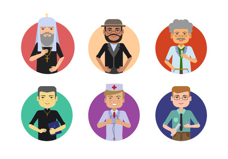 Set of male characters of various ethnicity, age, having different professions
