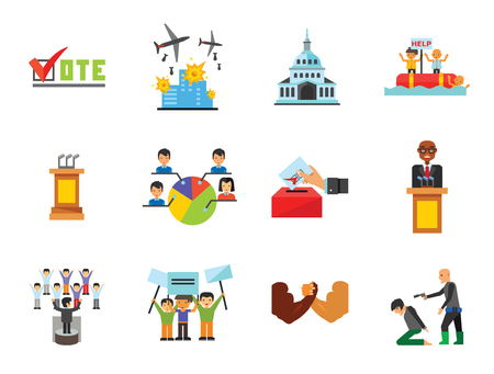 Politics Icon Set. Debates Politician Politics Leadership Vote White House Demonstration Election Electorate Refugees Hostage War Combat Vettoriali