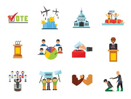 Politics Icon Set. Debates Politician Politics Leadership Vote White House Demonstration Election Electorate Refugees Hostage War Combat Illustration