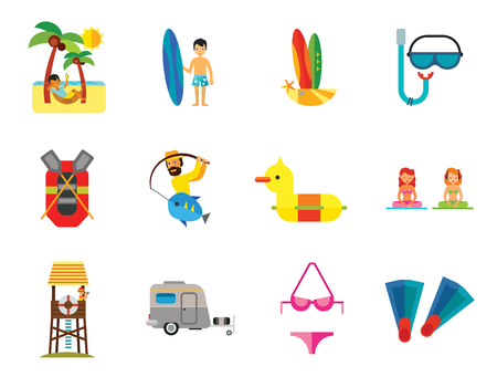 Sea Vacation Icon Set. Caravan Man Drinking Cocktail Rubber Duck Diving Mask And Snorkel Rubber Boat Swimming Father And Child Lifeguard Tower Fishing Man With Surfboard Bikini Flippers Meditation