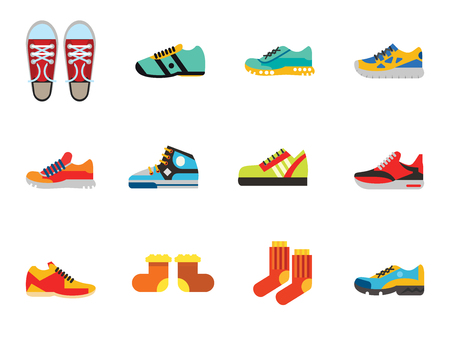 Shoes Icon Set. Sneakers Summer Shoes Sport Boots Trainer Jogging Shoe Gymshoe Running Shoe Football Boots Basketball Shoe Socks Valenki Plimsoll