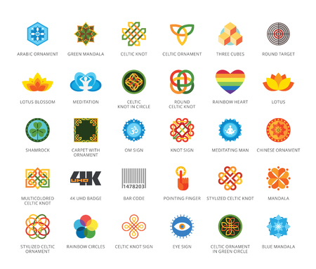 Set of 33 flat vector icons representing signs and symbols concepts