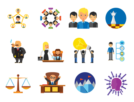 Strategy Icon Set. Team Structure Common Idea Director Executive Manager Rich Person Team Time Management Challenge Boss Scales Strategic Management Vision Team Leader Vettoriali