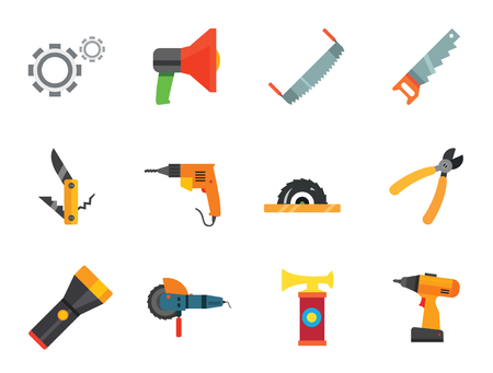 Techniques icons set with woodsawing machine, electric drill and hand saw. Thirteen vector icons