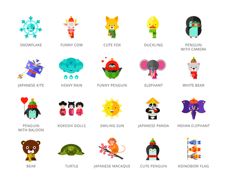 Toys characters icons set with elephant, bear, penguin and fox. Twenty two multicolored vector illustrations Vectores