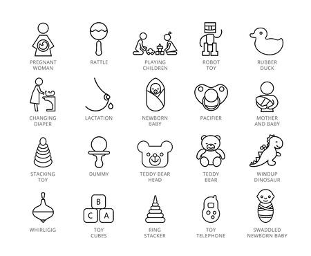 Toys vector icons set. Twenty two line illustrations