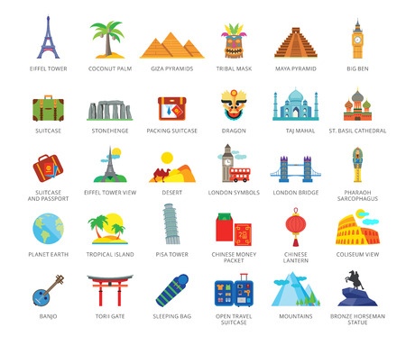 Set of 33 flat vector icons representing travelling and tourism concepts Illustration