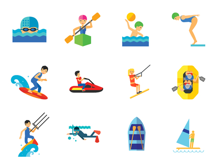 Water Sport Icon Set. Waterskiing Water Jumping Diving Water Polo Windsurfing Swimming Surfing Kayaking Sailing Ship Jet Skiing Kite Surfing River Adventure Boat With Oars