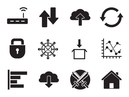 Web icons set with Wi-Fi cloud, router and download sign. Thirteen vector icons Illustration