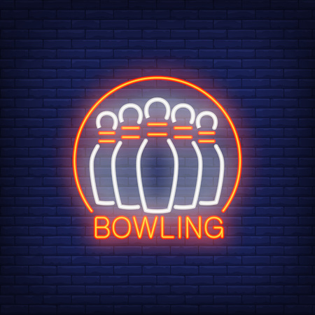 Bowling neon sign with skittles and round frame. Night bright advertisement. Vector illustration for bowling club, sport bar