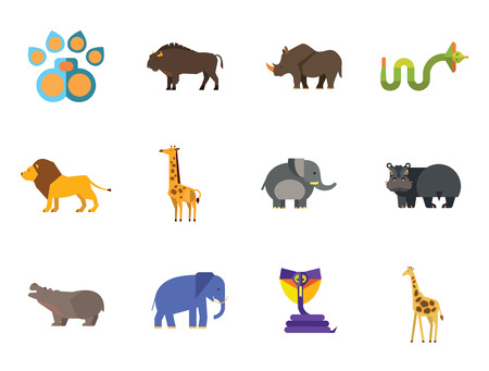 African Animals Icon Set. Paw Trace Zebra Lion Rhinoceros Cobra Hippopotamus Big Elephant Ox Giraffe Fat Elephant Crying Hippo Angry Cobra Young Giraffe 向量圖像