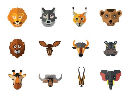 Animal Faces Icon Set. Lion Head Zebra Hippo Giraffe Head Lion Face Wolf Face Elephant Antelope Meerkat Head Doe Ox Red Lynx Head Bull