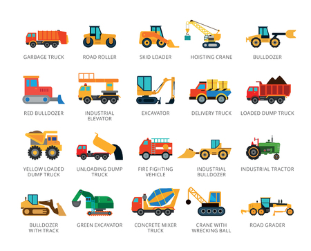 Set of 22 flat vector icons representing special and industrial vehicles concepts Ilustração