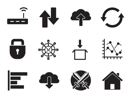 Web icons set with WiFi cloud, router and download sign. Thirteen vector icons