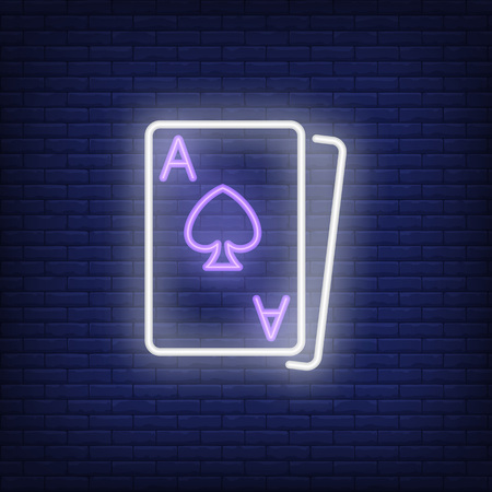 Blackjack cards neon sign element. Gambling concept for night bright advertisement. Vector illustration in neon style for online casino, playing, poker club
