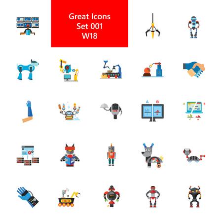 Robots and robotic technology icon set