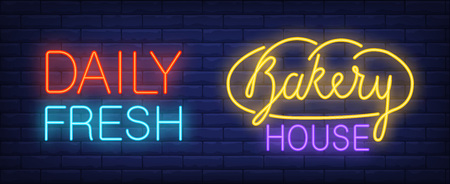Bakery house neon sign Illustration