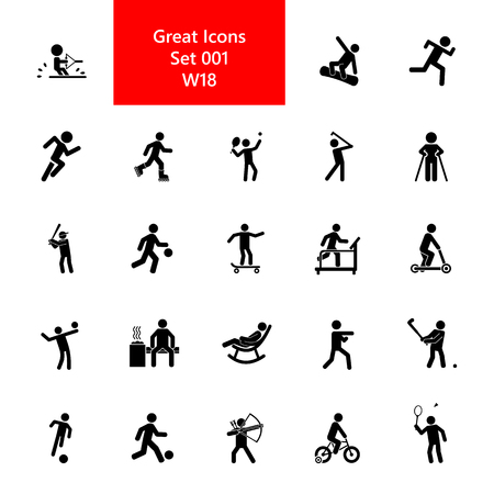 Active people icon set. Sport and activities collection