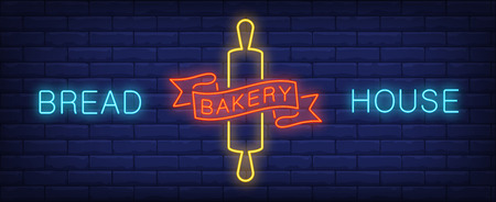Bread house neon sign Illustration