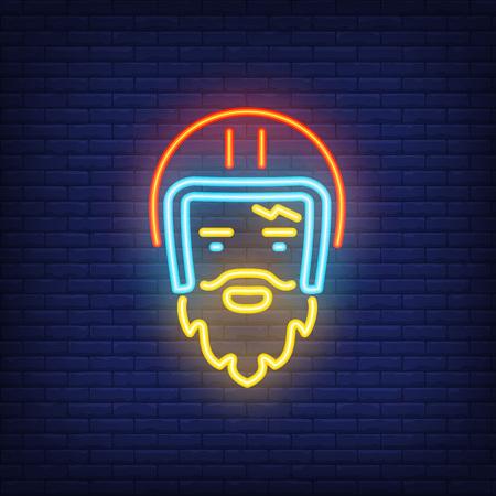 Bearded biker wearing helmet on brick background. Neon style