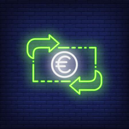 Euro exchange rate. Neon style illustration