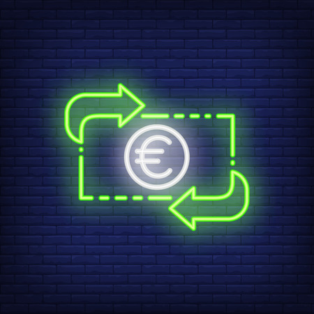 Euro exchange rate. Neon style illustration